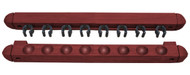 Roman-Style Two-Piece Wall Rack, Mahogany, 8 Cue