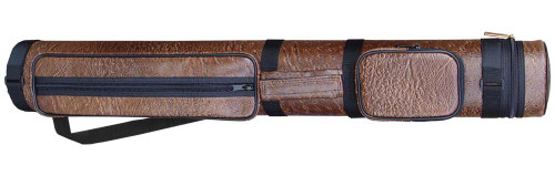 Sterling Brown Hard Pool Cue Case for 2 Butts, 3 Shafts