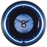 Large 8 Ball Neon Clock