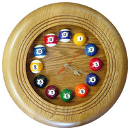 Round Solid Oak Billiards Clock