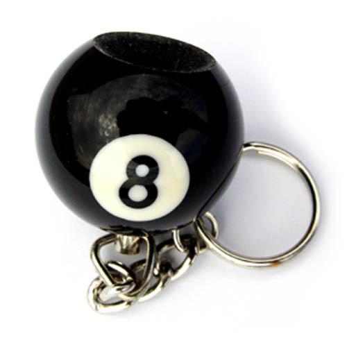 Pool Ball Key Chain and Scuffer, 8-Ball