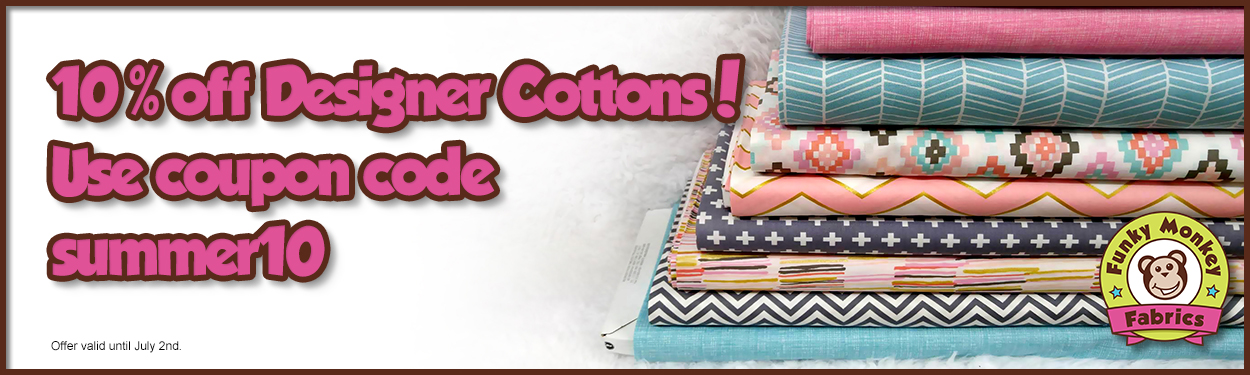 Save on cotton wovens with coupon code summer10.