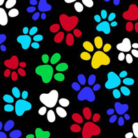 Multi Paw Prints on Black Fleece - 1/2 yard