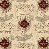 Cream Marauders Map Harry Potter - Camelot Knit - 1/2 yard