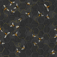 Charcoal Bees - Paintbrush Studio Cotton - 1/2 yard