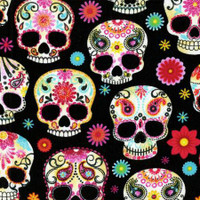Black Day of the Dead Skulls - 1/2 yard