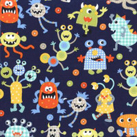 Monster Mash navy - 1/2 yard