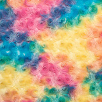 Sorbet Rainbow Minky Rose - 1/2 yard