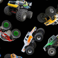 Monster Trucks on Black - 1/2 yard
