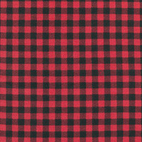 Red/Black Plaid Small Check Beaver Flannel - 1/2 yard