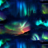 Northern Lights Night Sky - 1/2 yard