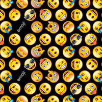 Emoji on Black Cotton - 1/2 yard
