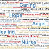 Multi Nursing Medical Words on White - 1/2 yard