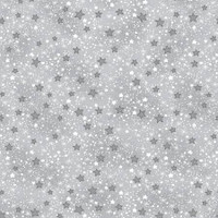 Grey & White Mini Sparkle Stars Flannel - 1/2 yard