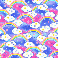 Multi Rainbows Anti-Pill Fleece - 1/2 yard