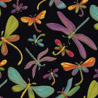 Black Dragonfly Metallic - Timeless Treasures Cotton - 1/2 yard
