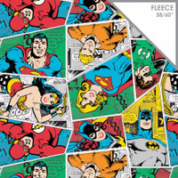 Multi DC Comics Group Collage Fleece - 1/2 yard