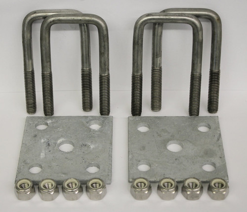2x4'' Stainless Steel Square U-Bolt Tie Plate Kit