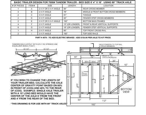 95 Tandem Trailer Parts Kit With 6000 Axles Build Your