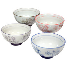 White Rice Bowls with Flowers 4.25'  From AFG