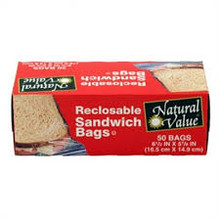 Sandwich Bags, Recloseable, 12 of 50 CT, Natural Value