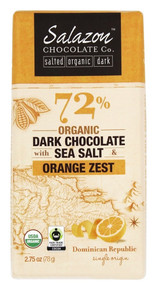 72% Dark w/Sea Salt & Orng Zest 12 of 2.75 OZ By SALAZON CHOCOLATE CO