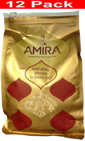 Basmati Rice,Brown,Natural 12 of 1 LB By AMIRA
