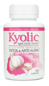 Kyolic Aged Garlic Extract Detox and Anti-Aging Formula 105 A C E & Herbal Antioxidants 100 caps Wakunaga Kyolic