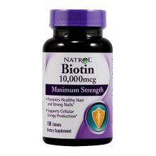 Biotin 10,000 mcg Maximum Strength 100 Tablets Natrol