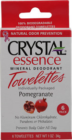 Crystal Essence Mineral Deodorant Towelettes-Pomegranate Box 6 Pieces  From Crystal Body Deodorant (French Transit)
