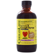 ChildLife Formula 3 Cough Syrup Alcohol Free Natural Berry Flavor 4 fl oz (118.5 ml)