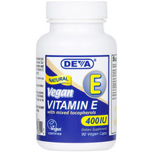Vegan Natural Vitamin E 400 IU 90 Vcaps Deva Vegetarian Nutrition
