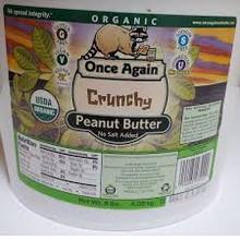 Peanut Butter, Crunchy, No Salt, 9 LB, Once Again