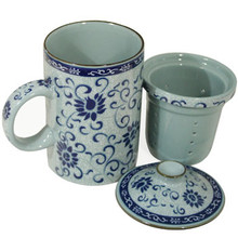 Blue Vine Filter Tea Cup  From B&T Trading