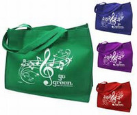 REUSABLE TOTE MUSIC STAFF GO GREEN (GREEN)