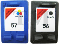 HP 56 Black & HP 57 Remanufactured Ink Cartridges Multipack- High Capacity Black & Tri-Colour Ink Cartridges - Compatible For  (HP 56, HP56, HP57, HP 57, C6656A, C6657A, SA342AE)
