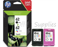 HP 62 Original Black & Tri-Colour 2 Pack Ink Cartridges Multipack - (N9J71AE, HP 62, 62, C2P04AE, C2P06AE, J3M80AE)