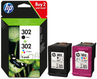 HP 302 Original Black & Tri-Colour 2 Pack Ink Cartridges Multipack - (X4D37AE, 302)