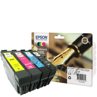 Epson 16XL Original Ink Cartridges Multipack - High Capacity 4 Colour - Black / Black / Cyan / Magenta / Yellow (C13T16364010, T1636, T163640, Epson 16XL, C13T16364012)