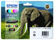 Epson 24XL Original Ink Cartridges Multipack - High Capacity 6 Colour Black / Cyan / Magenta / Yellow / Photo Cyan / Photo Magenta (C13T24384010, T2438, Epson 24XL, C13T24384011)