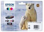 Epson 26XL Original Ink Cartridges Multipack - High Capacity 4 Colour Black / Cyan / Magenta / Yellow (T2636, C13T26364010, C13T26364020, 26XL, Epson 26XL)