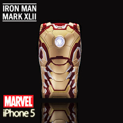 COLLECTOR SERIES: iPhone SE 5 5S Comic Case MARVEL Iron Man Mark XLII (42) Protective Case with LED Light Reflector Limited Edition CMCA024400 by IQCUBES.COM