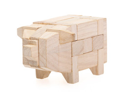 3D Puzzle Wood Pig (INNV007600) by IQCUBES.COM