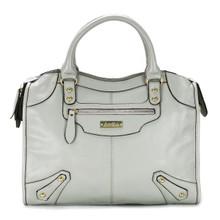 aretha 141061 Leather top handle bag light grey