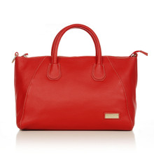 aretha 141141 Genuine Leather top handle bag red