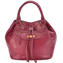 aretha 141171 Genuine Leather top handle bag red