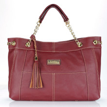 aretha 141211 Genuine Leather tassel shoulder bag red