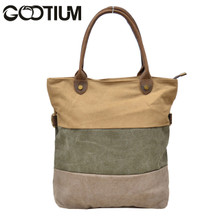 Gootium 31245CF Canvas Genuine Leather Vintage Shoulder Tote Bag,Coffee