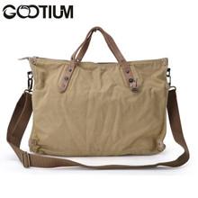 Gootium 31249KA Canvas Genuine Leather Vintage Shoulder Bag,Khaki
