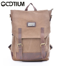 Gootium 40196CF Canvas Genuine Leather BagPack (Coffee)
